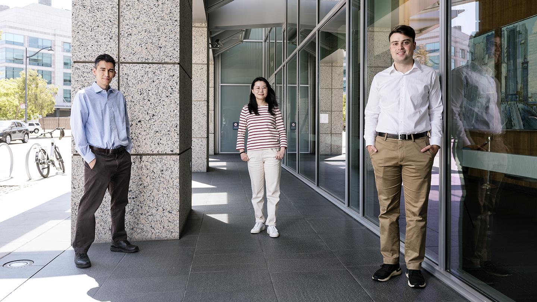 Ken Nakamura, Zak Doric, and Huihui Li stand outside Gladstone Institutes