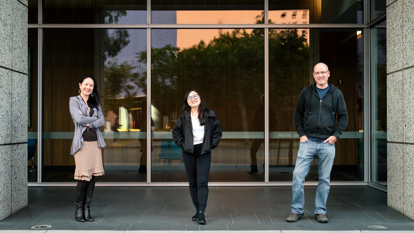 Gladstone scientists Nadia Roan, Xiaoyu Luo and Jason Neidleman