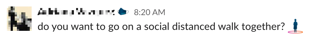 Slack message with social distance emoji